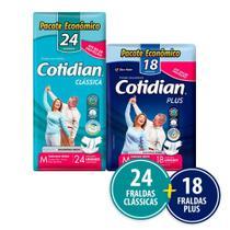 Kit Cotidian - 24 Fraldas Geriátricas Adulto Classica M + 18 Plus M -