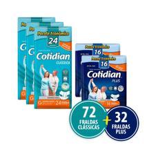 Kit Cotidian - 72 Fraldas Geriátricas Adulto Clássica G + 32 Plus G -