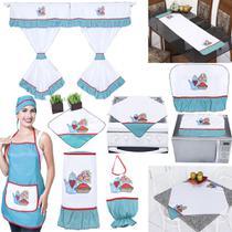 Kit Cozinha 10 Peças Cortina 3 Metros Jasmine 100% Oxford - Outfiter