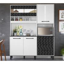 Kit Cozinha 4 Portas 3 Gavetas Mauí 160 CM Branco / Preto 3D Nicioli -