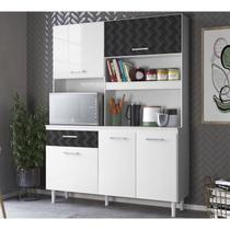 Kit Cozinha 4 Portas Yara 140 CM Branco Preto 3D Nicioli -