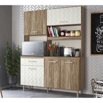 Kit Cozinha 4 Portas Yara 140 CM Carvalho Rust Off White 3D Nicioli -