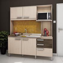 Kit Cozinha 5 Portas 2 Gavetas e Balcão para Pia B108 Briz - Fendi/Moka -