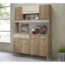 Kit Cozinha 7 Portas Magazin 120 CM Aplique Decorativo Carvalho Rust Off White 3D Nicioli -