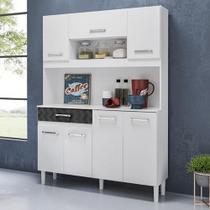 Kit Cozinha 7 Portas Magazin 120 Cm Branco Preto 3d Nicioli -