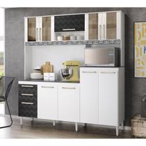 Kit Cozinha 9 Portas Florata Com Tampo/Forro/Aplique Branco Preto 3D Nicioli -