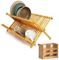 Kit Cozinha Bambu Escorredor De Louças Pratos e Talheres Pia Orgânico - Yoi -