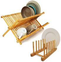 Kit Cozinha Bambu Escorredor De Louças Pratos + Suporte Display - Yoi -