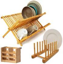 Kit Cozinha Bambu Escorredor Louças Pratos + Porta Talheres + Suporte Display - Yoi -