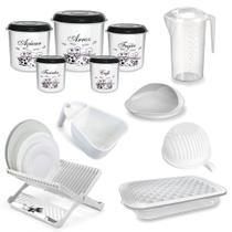 Kit Cozinha Branco (potes, Travessa, Escorredores, Jarra, Cortador de Legumes)  Injetemp -