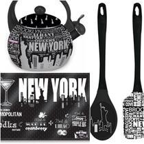 Kit Cozinha Chaleira Tábua de Vidro Colher Espátula Preta New York - DC