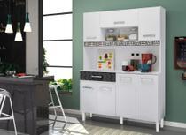 Kit Cozinha Compacta 7 Portas Branco Brilho/Preto - Magazin/Nicioli -
