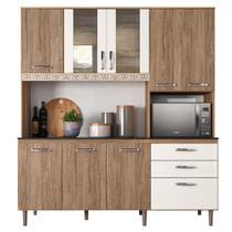 Kit Cozinha Compacta Fit 8 Portas com Aplique Carvalho Rústico/Off White - Nicioli -