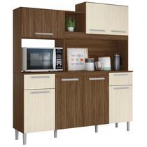 Kit Cozinha Compacta Lages 7 Portas Castanho/Nogueira - Moval -