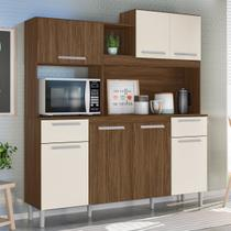 Kit Cozinha Compacta Lages 7 Portas Castanho Tannat/Baunilha - Moval -