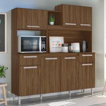 Kit Cozinha Compacta Lages 7 Portas Castanho Tannat - Moval -