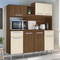 Kit Cozinha Compacta Lages 7 Portas Castanho Tannat/Nougueira - Moval -