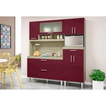 Kit Cozinha Compacta Luiza Carvalho/Fucsia - MoveMax -