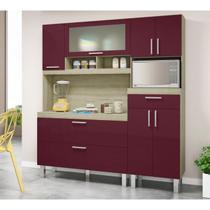 Kit Cozinha Compacta Luizza Carvalho Fucsia - Movemax
