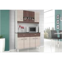 Kit Cozinha Compacta Manu 08 Portas Amêndoa com Capuccino - Poquema -