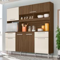Kit Cozinha Compacta Olinda 6 Portas Castanho/Baunilha - Moval -