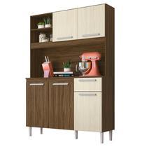 Kit Cozinha Compacta Prado 5 Portas Castanho/Nogueira - Moval -