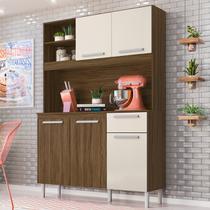 Kit Cozinha Compacta Prado 5 Portas Castanho Tannat/Baunilha - Moval -