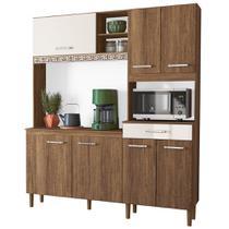 Kit Cozinha Compacta Yara 160cm 7 Portas com Aplique Évora/Off White - Nicioli -