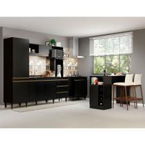 Kit Cozinha Completa Compacta Vitória 215 Cm + Balcão Cooktop + Ilha Bancada 140 Cm MDP Preto- MENU - Menu Móveis