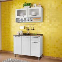 Kit Cozinha de Aço Armário 2 Portas de Vidro e Nicho e Balcão 3 Portas 1 Gaveta Multipla Bertolini Branco -
