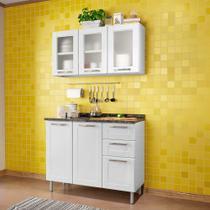 Kit Cozinha de Aço Balcão 3 Portas 2 Gavetas e Armário 3 Portas Vidro Multipla Bertolini Branco -