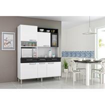 Kit Cozinha de Aço Regina 2X1,55M 6 Portas 3 Gavetas Branco/ Preto Itatiaia -