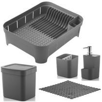 Kit Cozinha Escorredor Louça + Porta Talher + Dispenser Detergente + Lixeira + Tapete - Ou -