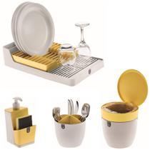 Kit Cozinha Escorredor Louças + Porta Talheres + Dispenser Detergente + Lixeira Pia - Branco Crippa -