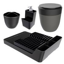 Kit Cozinha Escorredor Louças + Porta Talheres + Dispenser + Lixeira Pia - Crippa -