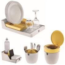 Kit Cozinha Escorredor Louças + Porta Talheres + Organizador Pia + Lixeira - Branco Crippa -