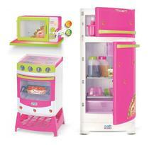 Kit Cozinha Geladeira Fogão Micro-ondas + 7 Acessórios 8049 - Magic Toys