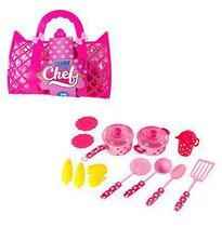 Kit cozinha infantil clube do chef com panela e acessorios 14 pecas na bolsa - Ark Brasil