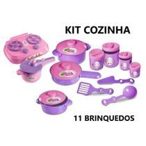 Kit Cozinha Infantil com 11 Brinquedos Fogão, Pote Arroz, Feijão, Açucar ,Café e 2 Panela - zuca