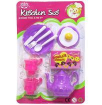 Kit Cozinha Infantil com Chaleira com Talheres e Acessorios Kitchen Set 10 Pecas - 20 Comercial