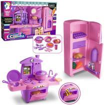 Kit cozinha infantil com geladeira + fogao e acessorios grand cozinha 18 pecas - Zucca Toys