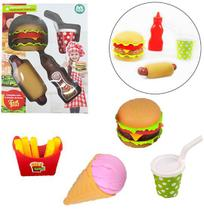 Kit cozinha infantil com lanche hamburguer + refrigerante e acessorios fast food 15 pecas - Ark Brasil