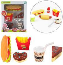 Kit cozinha infantil com lanche / sanduiche + refrigerante e acessorios fast food - Ark Brasil