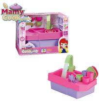 Kit cozinha infantil com pia e acessorios mamy cook acqua na caixa - Silmar