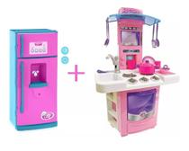 Kit cozinha infantil completa sai agua big star + geladeira lechef -