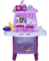 Kit Cozinha Infantil Completo Fogão Forno Pia 29 Peças com Luz e Som Importway BW034 Rosa -