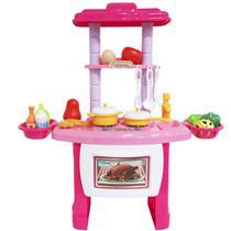 Kit Cozinha Infantil Completo Fogão Forno Pia 43 Peças com Luz e Som Importway BW-091 Rosa -