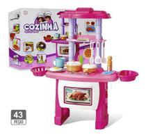 Kit Cozinha Infantil Completo Fogão Forno Pia 43 Peças com Luz e Som Menina Rosa - Importway