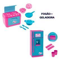 Kit Cozinha Infantil Fogão  e Geladeira com acessórios Le Chef  Usual Brinquedos -