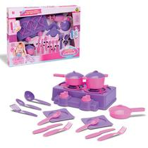 Kit Cozinha Infantil - Fogão, Panelinhas e Pratinhos - Samba Toys -
